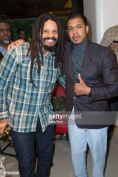 Rohan Marley and photographer Johnny Nunez attend Fabrizio Sotti's Right Now Album Listening Party at the Ferrari Corporate Showroom Of New York on...