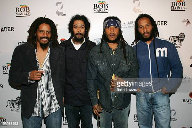 Rohan Marley Damian Marley Stephen Marley and Ziggy Marley all sons of Bob Marley pose at the Tuff Gong Clothing line launch party on July 19 2005 in...
