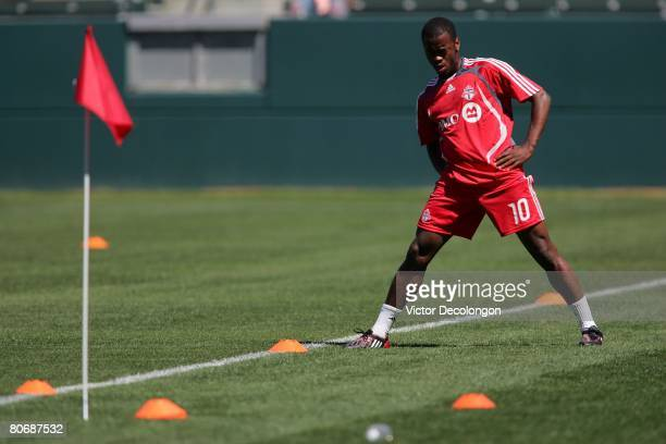 Rohan Ricketts of Toronto FC stretches during warmup prior to their MLS game against the Los Angeles Galaxy at the Home Depot Center on April 13 2008...