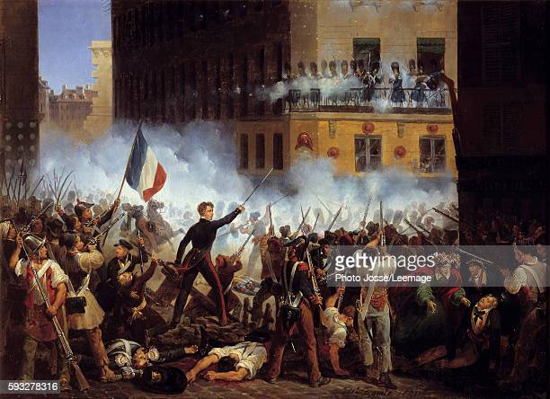 Rohan Road Combat 29 July 1830 Scene of barricades during the Revolution of 1830 Painting by Hippolyte Lecomte 1831 043 x 06 m Carnavalet museum Paris
