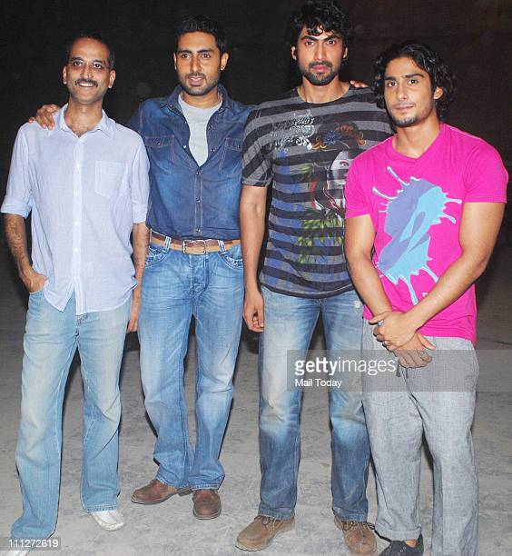 Rohan Sippy Abhishek Bachchan Rana Daggubati and Prateik Babbar at an event to promote their upcoming film Dum Maaro Dum