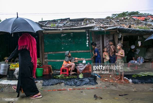 Rohingya are seen in a refugee camp on August 24, 2019 in Cox's Bazar, Bangladesh. August 25th marks the second anniversary of the Rohingya crisis in...
