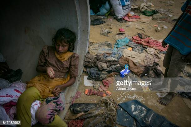 Rohingya are seen in an informal settlement September 15 2017 in Cox's Bazar Bangladesh Nearly 400000 Rohingya refugees have fled into Bangladesh...