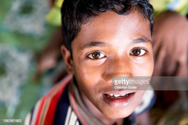 Kutupalong Ukhiya near Cox´s Bazar Bangladesh October 15 2018 A Rohingya child in the camp during an educational event of an NGO Refugee camp of the...