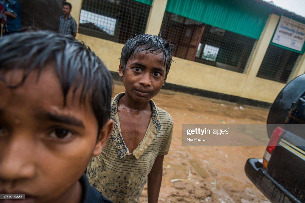 Rohingya children in the flooded rohingya makeshift shelterr at kutupalong in Coxs Bazar, Bangladesh on June 13, 2018.