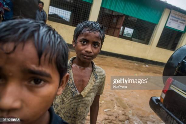 Rohingya children in the flooded rohingya makeshift shelterr at kutupalong in Coxs Bazar Bangladesh on June 13 2018