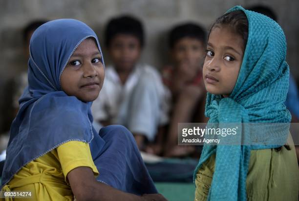 Rohingya children receive education during the Turkey's Diyanet Foundation's Zakaullah educational scholarship and course project in Karachi in...