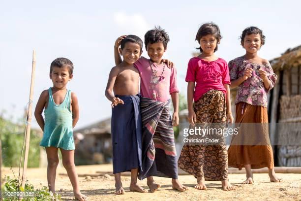 Kutupalong Ukhiya near Cox´s Bazar Bangladesh October 15 2018 5 Rohingya children standing in the camp Refugee camp of the Rohingyas near Cox's Bazar...