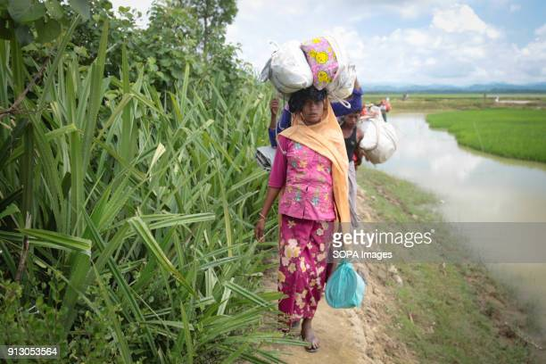 A Rohingya family newly arrived with their belongings in Bangladesh from Myanmar More than 600000 Rohingya refugees have fled from Myanmar Rakhine...