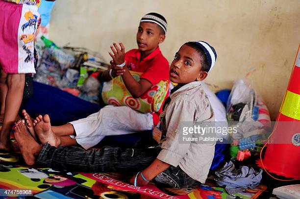 Rohingya migrant Zamal Hoson seen at a temporary shelter in Aceh on May 25 2015 in Kuala Langsa Indonesia Many orphan children are among the refugees...