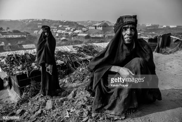 COX'S BAZAR BANGLADESH OCTOBER 27 Rohingya Muslim refugee women rest on October 27 2017 at the Kutapalong refugee camp in Cox's Bazar Bangladesh More...