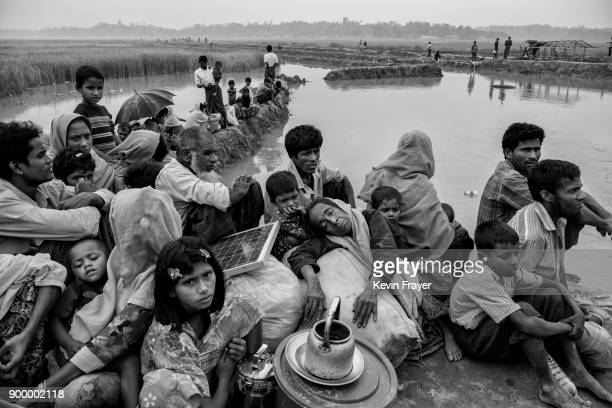 COX'S BAZAR BANGLADESH NOVEMBER 02 Rohingya Muslim refugees waiting to proceed to camps after crossing the border from Myanmar into Bangladesh sit on...