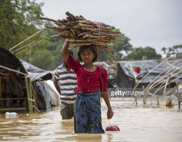COX'S BAZAR BANGLADESH SEPTEMBER 20 A Rohingya Muslim woman fled from ongoing military operations in Myanmars Rakhine state carries woods over her...