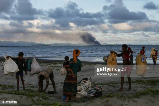 COX'S BAZAR BANGLADESH SEPTEMBER 13 Rohingya Muslims fled from ongoing military operations in Myanmars Rakhine state flee to a temporary makeshift...