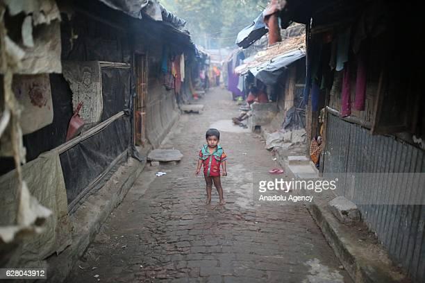 Rohingya Muslims fled from violence over Muslims in Myanmar take shelter at Leda unregistered Rohingya camp in Teknaf Bangladesh on December 06 2016...