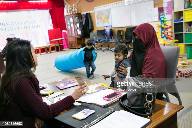 Rohingya refugee 23 year old Sakinah takes English classes at the Rohingya Cultural Center of Chicago on January 11 2019 in Chicago Illinois Chicago...