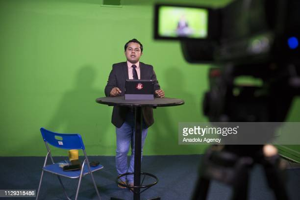 Rohingya refugee Ajmeer Omar the main anchor of the channel speaks during the recording session at Rohingya Vision TV studio in Kuala Lumpur Malaysia...