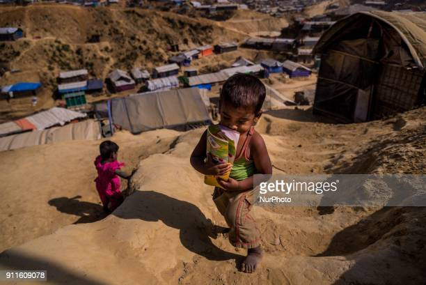 A Rohingya refugee child at Cox's Bazar refugee camp in Bangladesh on January 27 2018 As the rohingya people are refused from citizenship in myanmar...