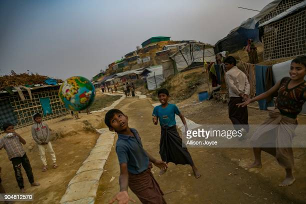 COX'S BAZAR BANGLADESH JANUARY 14 Rohingya refugee children play in Balukhali camp on January 14 2018 in Cox's Bazar Bangladesh Over 650000 Rohingya...