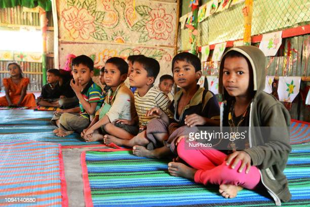 Rohingya refugee children studying in a school in a Balukhali refugee camp in Ukhia, Cox's Bazar, Bangladesh, on February 02, 2019