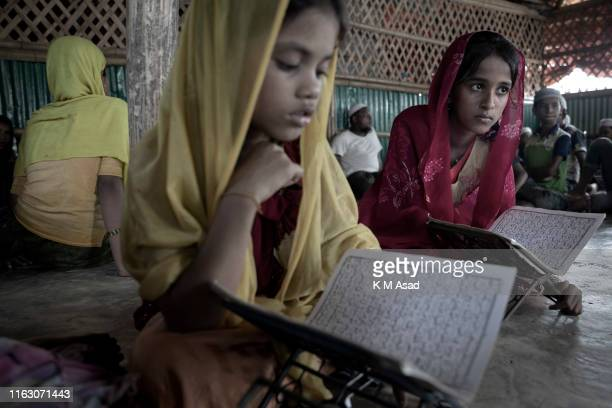 Rohingya refugee girls get some education at the Teknaf rohingya refugee camp in Coxs bazar Bangladesh
