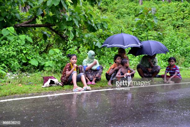 Rohingya refugee waits inside the road for relief at teknuf in Cox's Bazar Bangladesh on October 06 2017 According to the United Nations High...