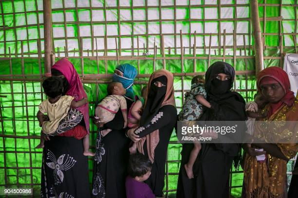 COX'S BAZAR BANGLADESH JANUARY 13 Rohingya refugees are seen at a malnutrition center in Balukhali camp on January 13 2018 in Cox's Bazar Bangladesh...