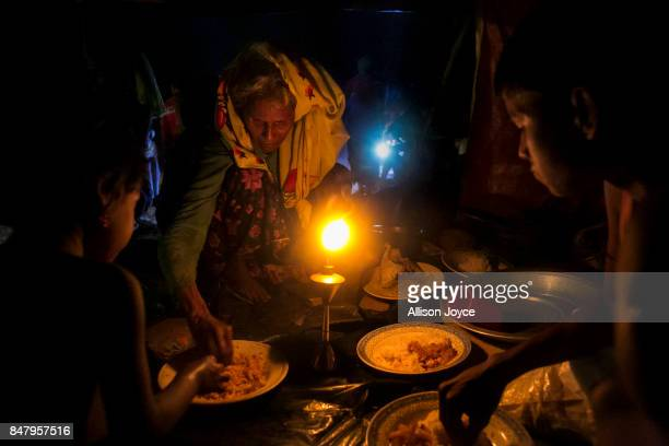 Rohingya refugees are seen in an informal refugee camp on September 16 2017 in Cox's Bazar Bangladesh Nearly 400000 Rohingya refugees have fled into...