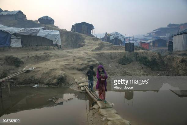 COX'S BAZAR BANGLADESH JANUARY 11 Rohingya refugees are seen in Balukhali camp on January 11 2018 in Cox's Bazar Bangladesh Over 650000 Rohingya have...