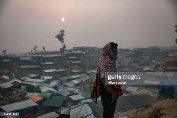 COX'S BAZAR BANGLADESH JANUARY 14 Rohingya refugees are seen in Balukhali camp on January 14 2018 in Cox's Bazar Bangladesh Over 650000 Rohingya have...