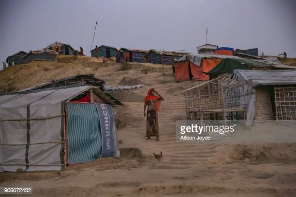 COX'S BAZAR BANGLADESH JANUARY 17 Rohingya refugees are seen in Balukhali camp on January 17 2018 in Cox's Bazar Bangladesh Bangladesh and Myanmar...