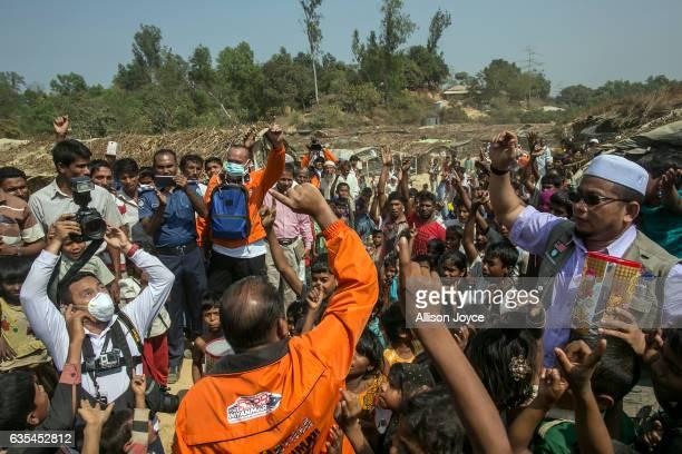 Rohingya refugees chant Allah Akbar or God is great as the Nautical Aliya crew distribute relief supplies at the Balu Khali refugee camp February 15...