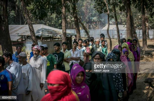 Rohingya refugees gather for aid supplies as the crew of the Nautical Aliya distributes food and hygiene supplies at Balu Khali refugee camp February...