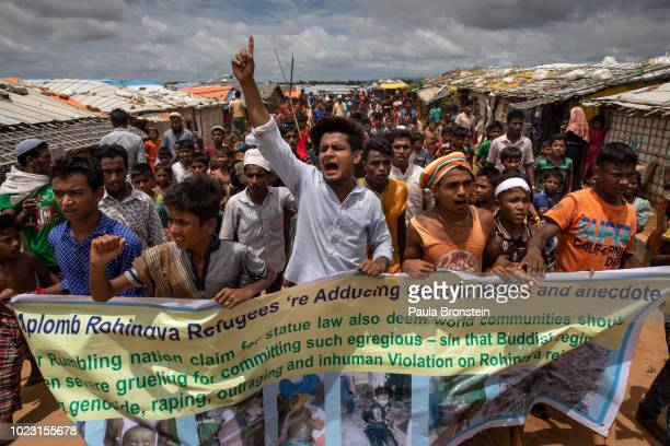 Rohingya refugees protest on the first anniversary of the Rohingya crisis August 25 2018 in Kutupalong Cox's Bazar Bangladesh Myanmar's military...