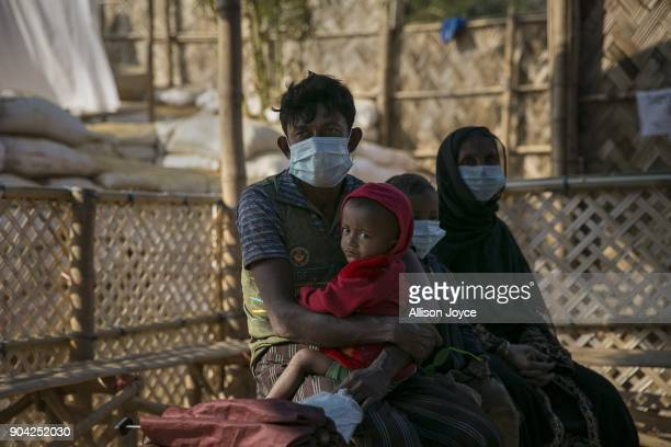 COX'S BAZAR BANGLADESH JANUARY 12 Rohingya refugees wait for treatment at a Samaritan's Purse diphtheria clinic in Balukhali camp on January 12 2018...