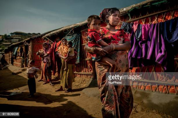 Rohingya refugees women at Cox's Bazar refugee camp in Bangladesh on January 27 2018 As the rohingya people are refused from citizenship in myanmar...