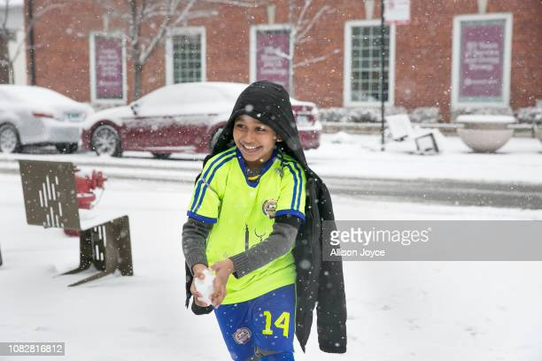Rohingya soccer player plays in the snow while traveling to a game January 12 2019 in Chicago Illinois Chicago has one of the largest number of...