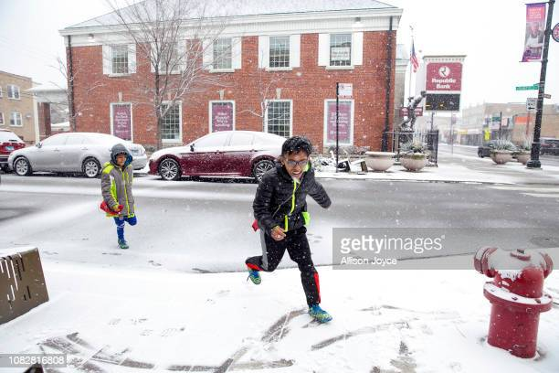 Rohingya soccer players play in the snow as they travel to a game January 12 2019 in Chicago Illinois Chicago has one of the largest number of...