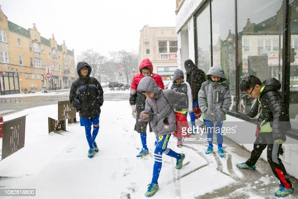 Rohingya soccer players travel to a game January 12 2019 in Chicago Illinois Chicago has one of the largest number of Rohingya refugees that have...