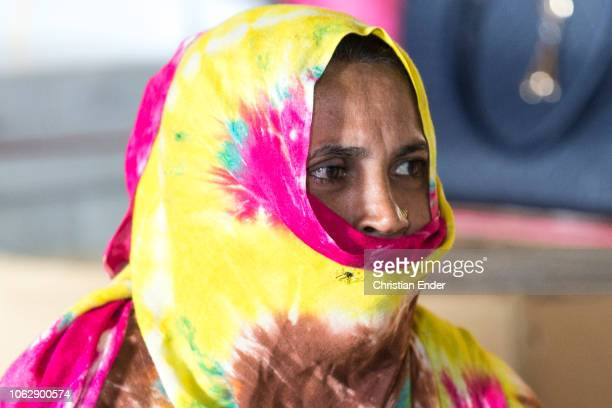 Kutupalong Ukhiya near Cox´s Bazar Bangladesh October 15 2018 Rohingya woman wearing a niqab during an educational event of an NGO in the camp...