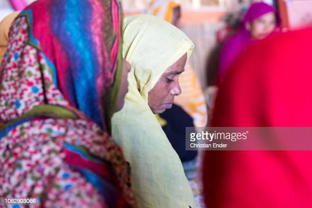 Kutupalong Ukhiya near Cox´s Bazar Bangladesh October 15 2018 Rohingya women wearing a hijab during an educational event of an NGO in the camp...