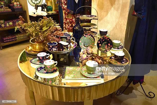Rohit Bal's HusnETaairaat home collectibles on display at Good Earth on November 12 2016 in Mumbai India