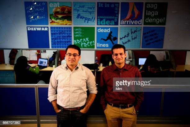 Rohit Bansal Cofounder COO Snapdealcom and Kunal Bahl Founder CEO Snapdealcom photographed at their office on December 26 2013 in New Delhi India