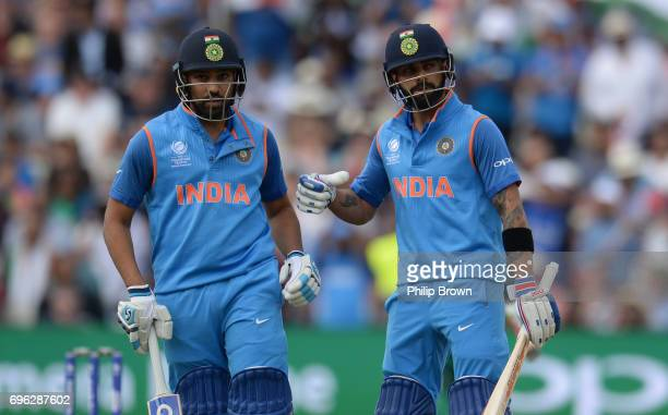 Rohit Sharma and Virat Kohli of India during the ICC Champions Trophy match between Bangladesh and India at Edgbaston cricket ground on June 15 2017...