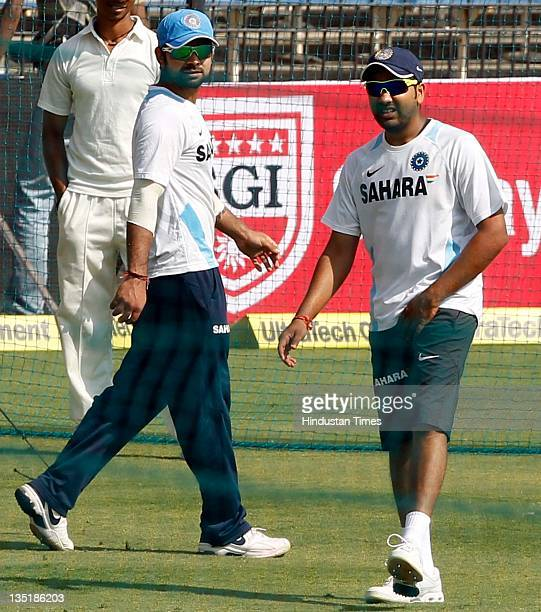 Rohit Sharma and Virat Kohli of India during the team practice session prior to the 4th One Day International match between India and West Indies at...