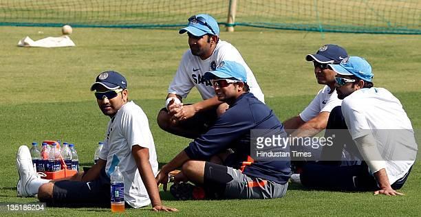 Rohit Sharma Gautam Gambhir Suresh Raina Virendra Sehwag and Virat Kohli of India taking some rest during the team practice session prior to the 4th...