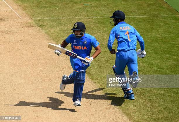 Rohit Sharma of India and KL Rahul of India score more runs during the Group Stage match of the ICC Cricket World Cup 2019 between Bangladesh and...