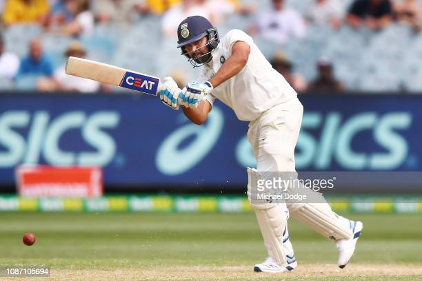 Rohit Sharma of India bats during day two of the Third Test match in the series between Australia and India at Melbourne Cricket Ground on December...