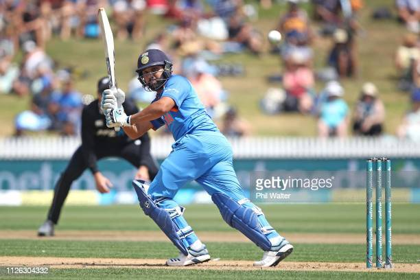 Rohit Sharma of India bats during game four of the One Day International series between New Zealand and India at Seddon Park on January 31 2019 in...
