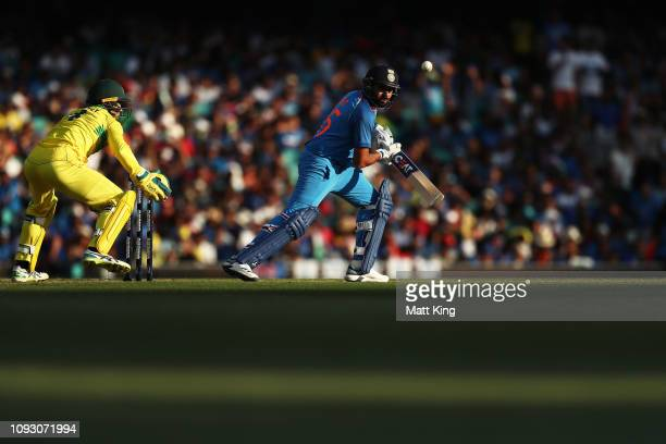 Rohit Sharma of India bats during game one of the One Day International series between Australia and India at Sydney Cricket Ground on January 12...
